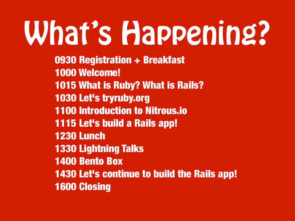 What's Happening? 0930 Registration + Breakfast...