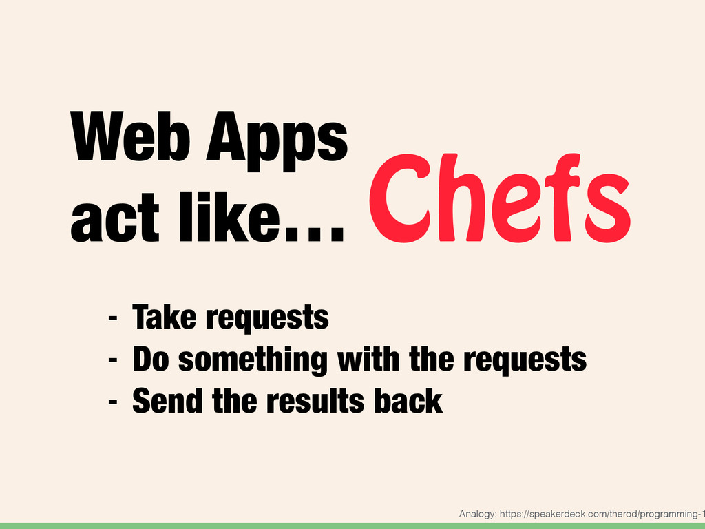 Web Apps act like… Chefs - Take requests - Do s...