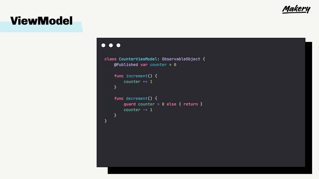 ViewModel class CounterViewModel: ObservableObj...