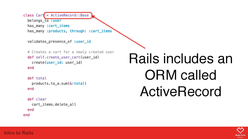 Intro to Rails Rails includes an ORM called Act...
