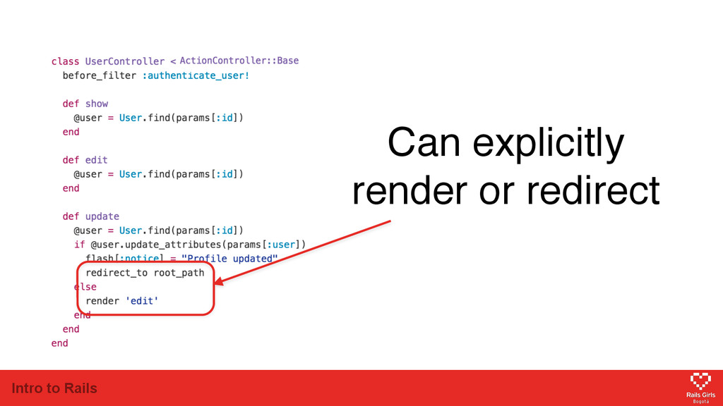 Intro to Rails Can explicitly render or redirect