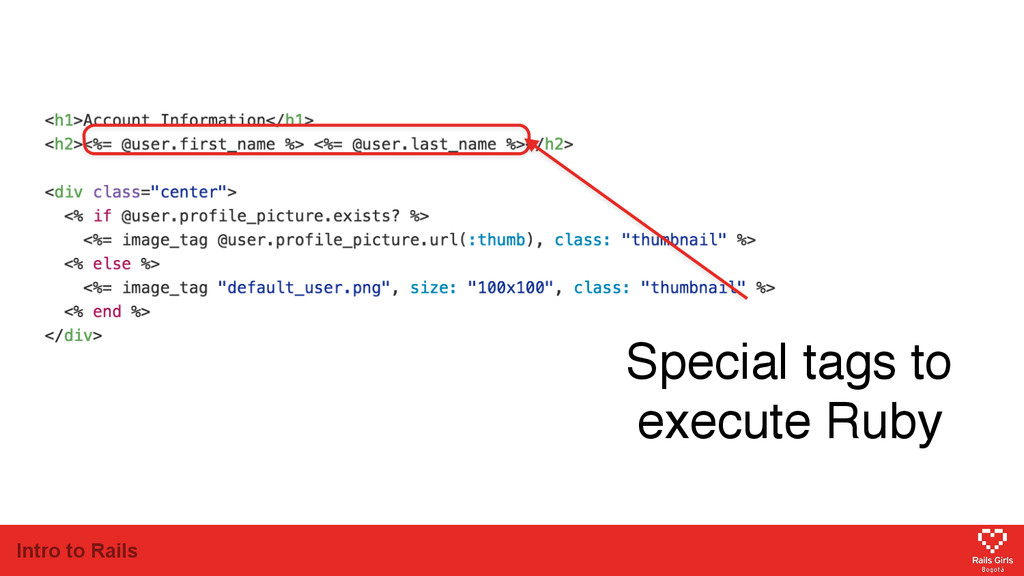Intro to Rails Special tags to execute Ruby