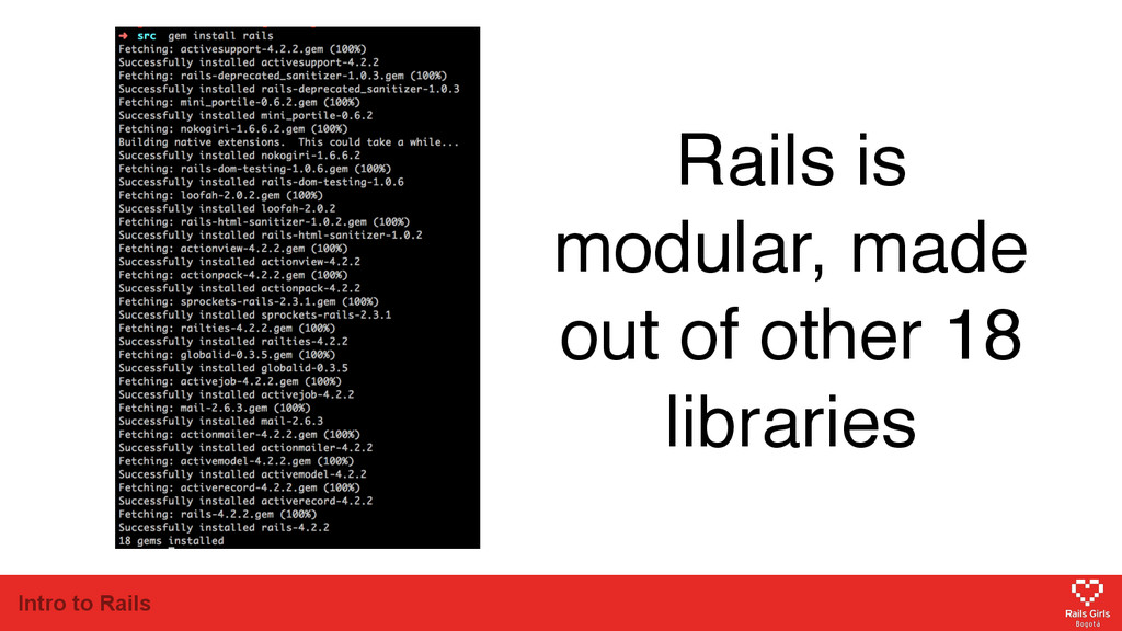 Intro to Rails Rails is modular, made out of ot...
