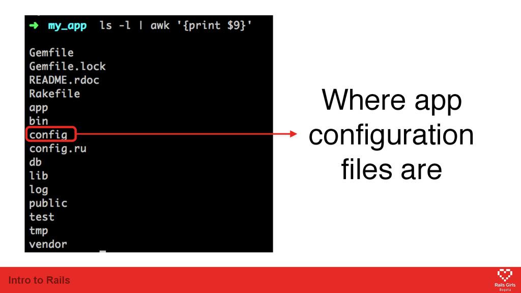 Intro to Rails Where app configuration files are