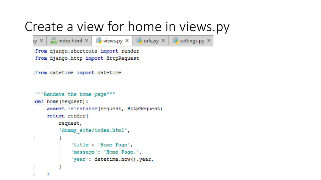 Create a view for home in views.py