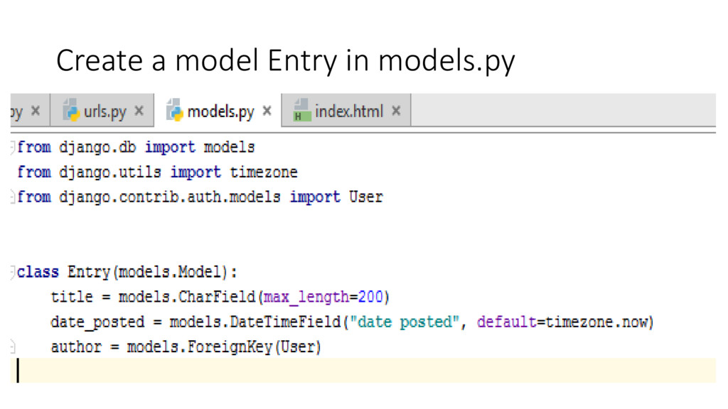 Create a model Entry in models.py
