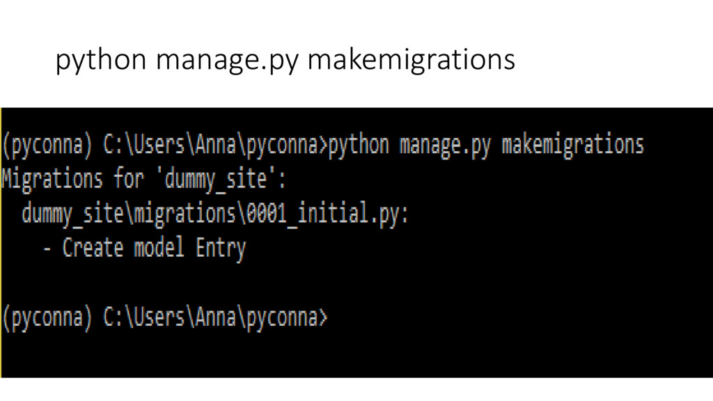 python manage.py makemigrations
