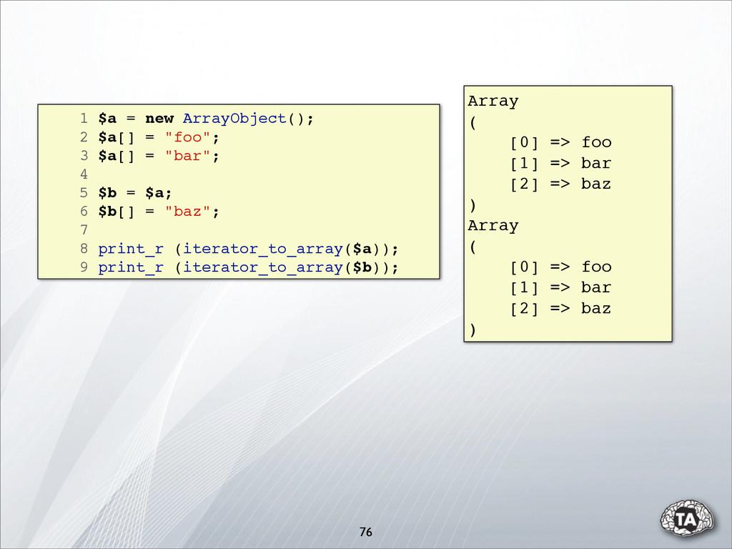 """76 1 $a = new ArrayObject(); 2 $a[] = """"foo""""; 3 ..."""