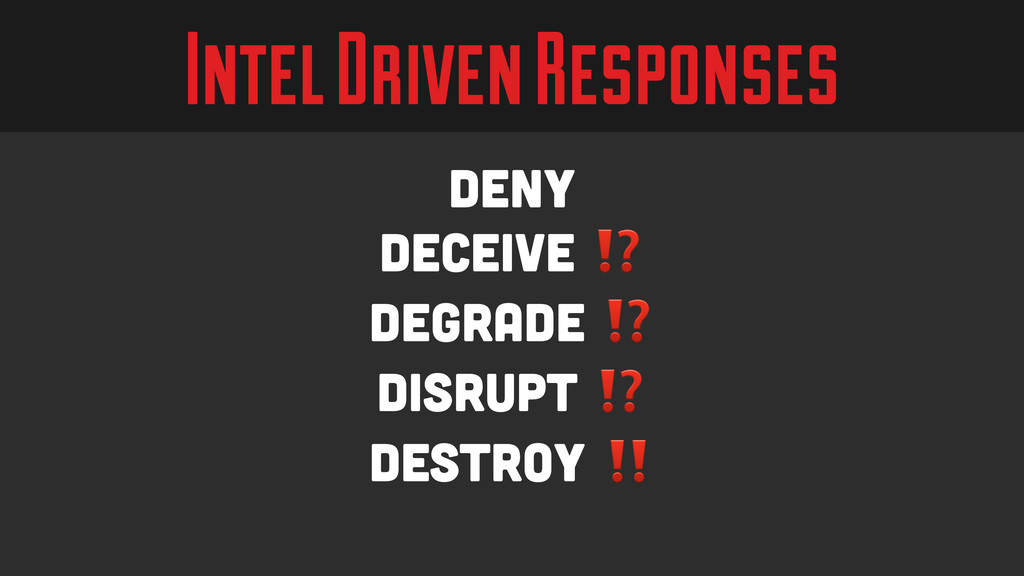 Intel Driven Responses deny Deceive ⁉️ degrade ...