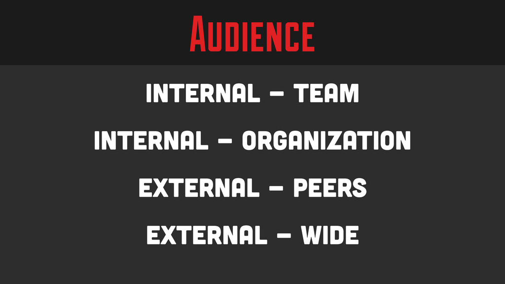 Audience Internal - Team Internal - Organizatio...