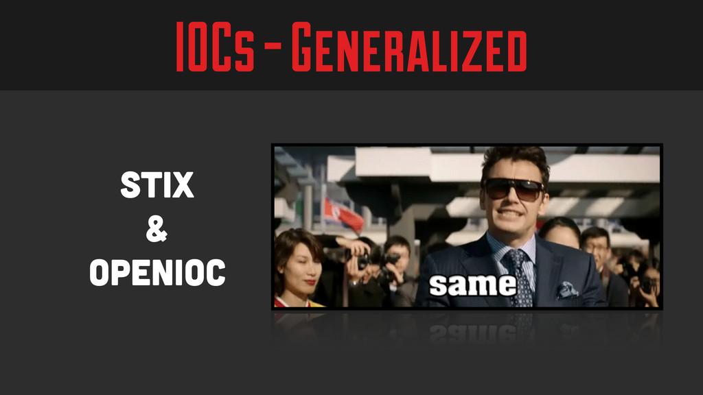 IOCs - Generalized Stix & OpenIOC