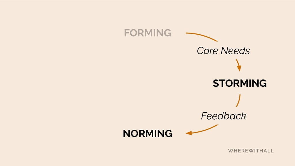 FORMING STORMING NORMING Feedback Core Needs