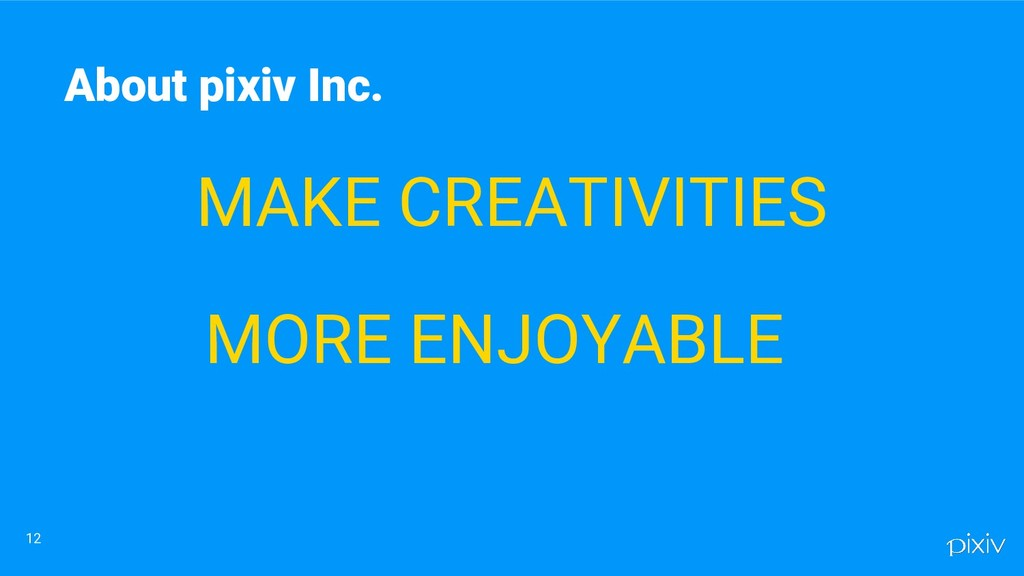 MAKE CREATIVITIES MORE ENJOYABLE 12 About pixiv...