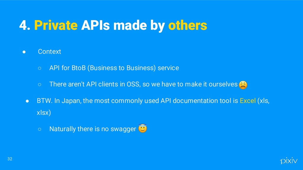● Context ○ API for BtoB (Business to Business)...