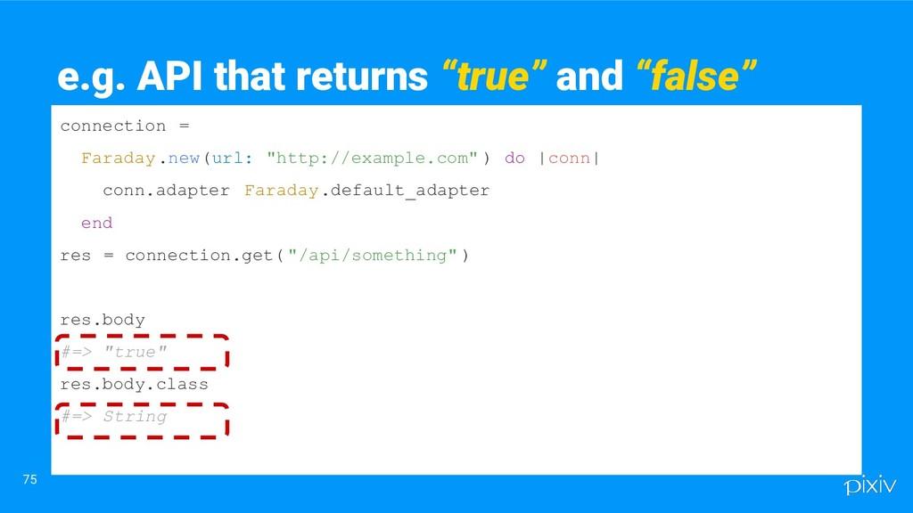 """75 e.g. API that returns """"true"""" and """"false"""" con..."""