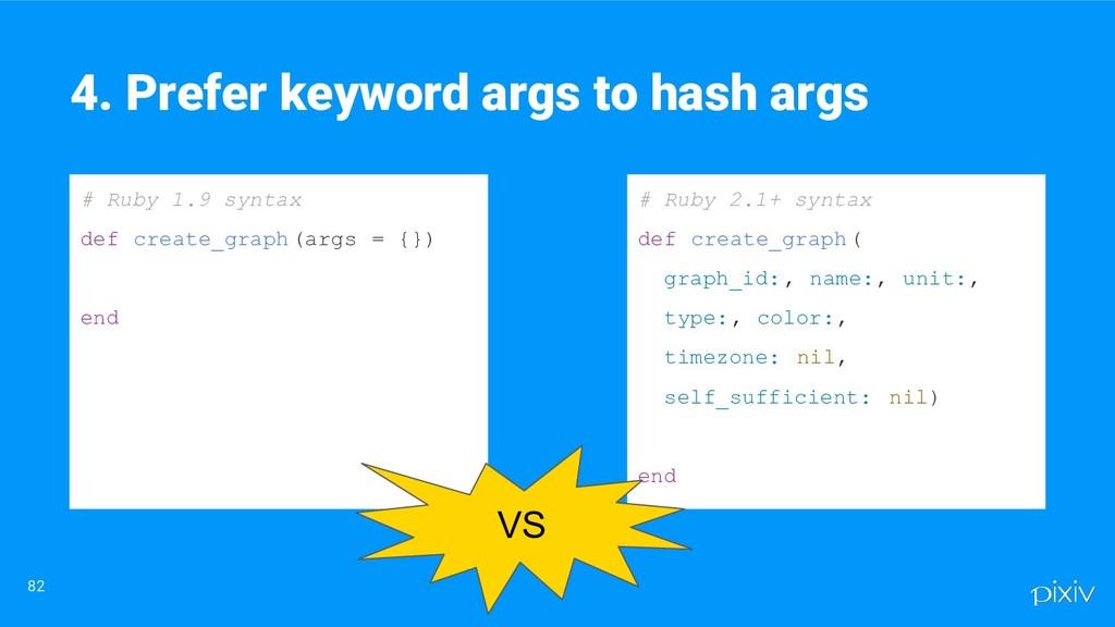 82 4. Prefer keyword args to hash args # Ruby 1...