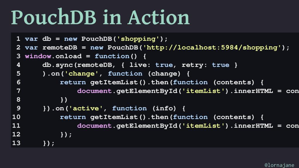 PouchDB in Action 1 var db = new PouchDB('shopp...