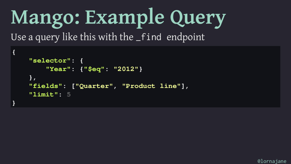 Mango: Example Query Use a query like this with...