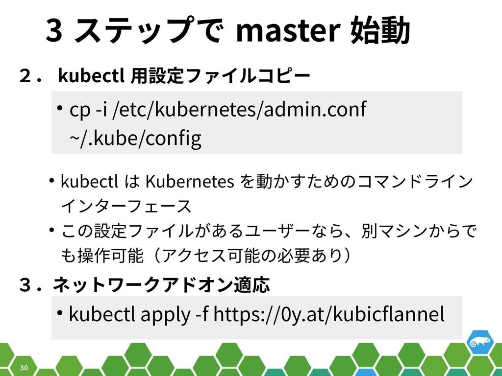 30 3 ステップで master 始動 2. kubectl 用設定ファイルコピー ● cp...