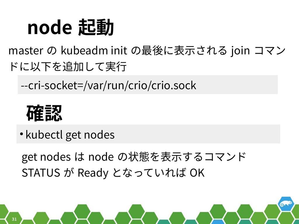 31 node 起動 master の kubeadm init の最後に表示される join...