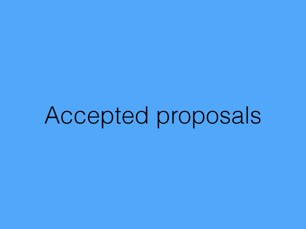 Accepted proposals