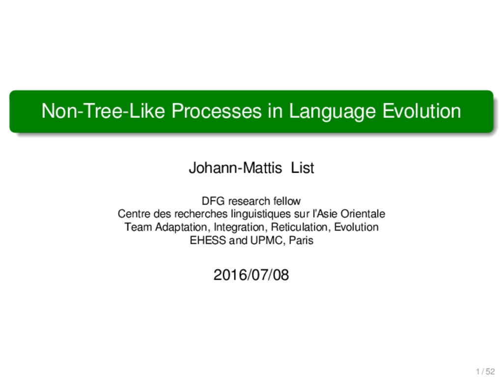 Non-Tree-Like Processes in Language Evolution J...