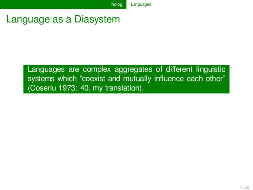Prolog Languages Language as a Diasystem Langua...