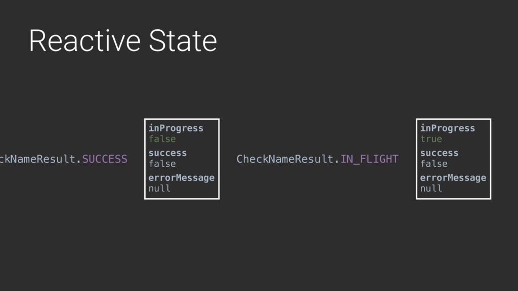 Reactive State ckNameResult.SUCCESS inProgress ...
