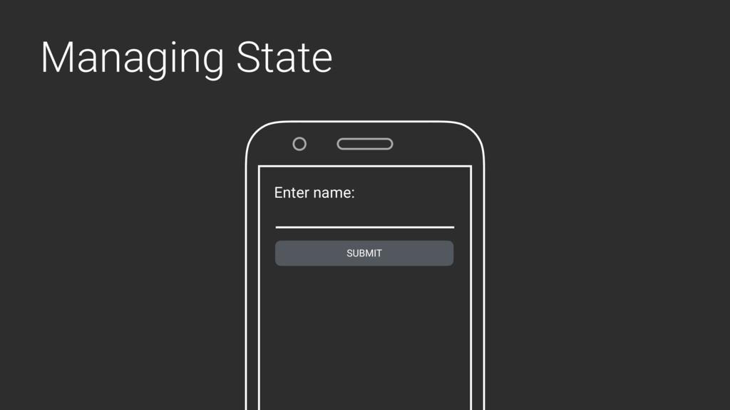 Managing State Enter name: SUBMIT