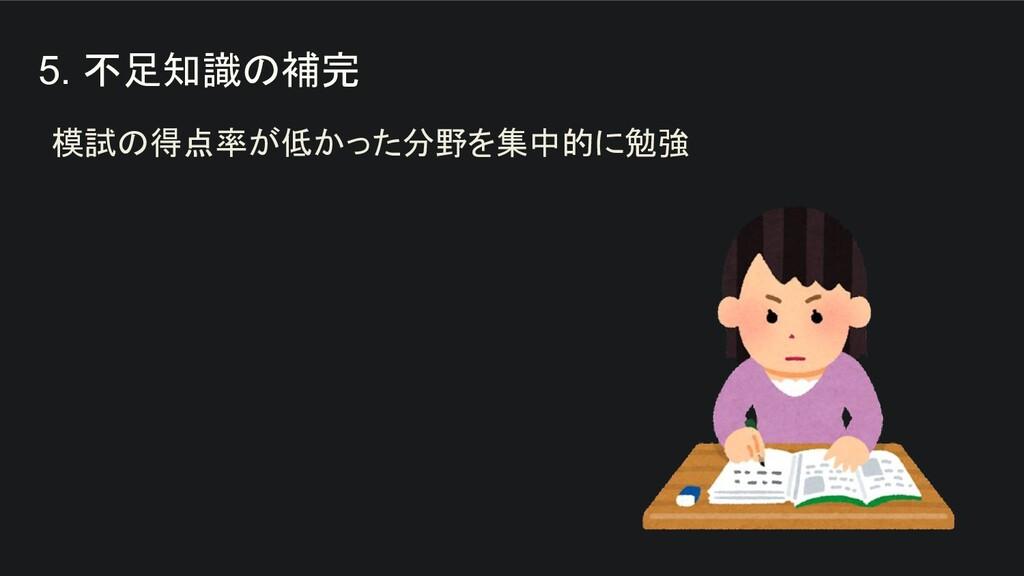 5. 不足知識の補完 模試の得点率が低かった分野を集中的に勉強