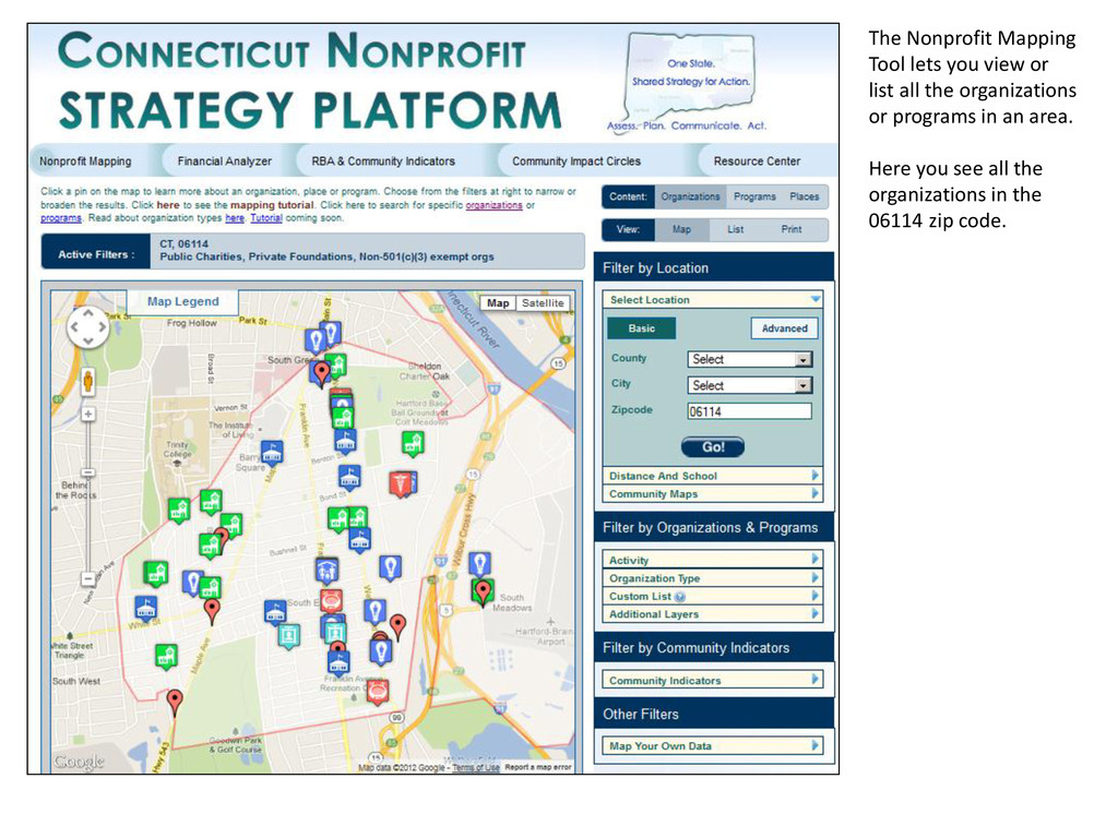 The Nonprofit Mapping Tool lets you view or lis...