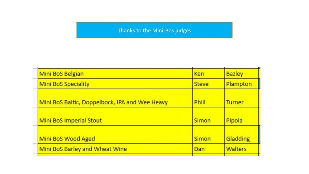 Thanks to the Mini-Bos judges