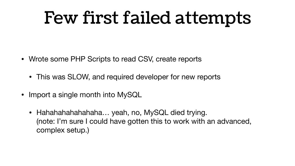 Few first failed attempts • Wrote some PHP Scrip...