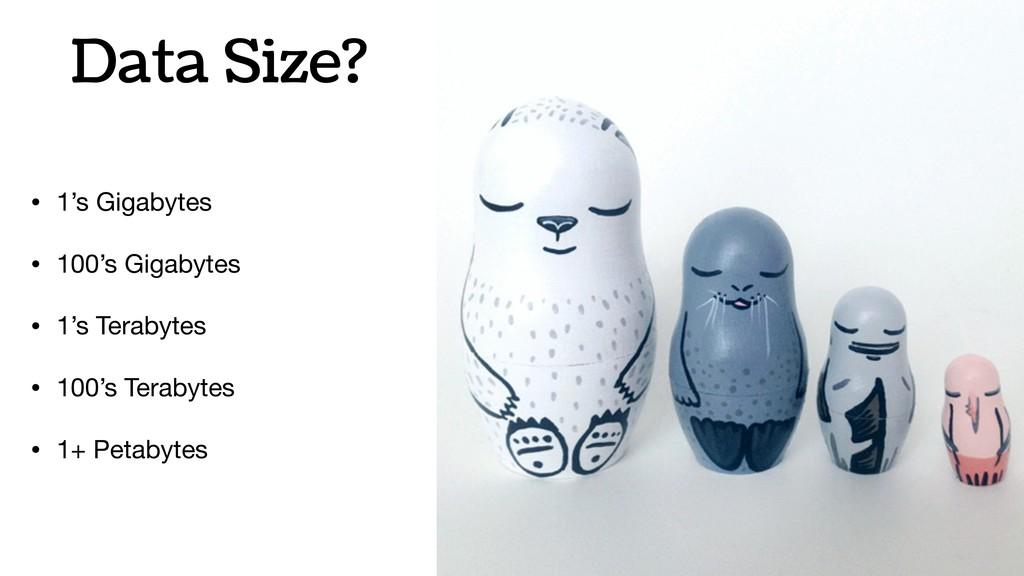 Data Size? • 1's Gigabytes  • 100's Gigabytes  ...