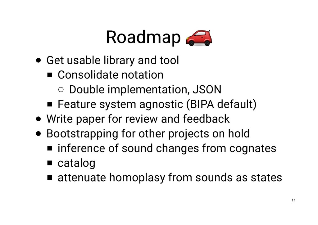 Roadmap Roadmap Get usable library and tool Con...