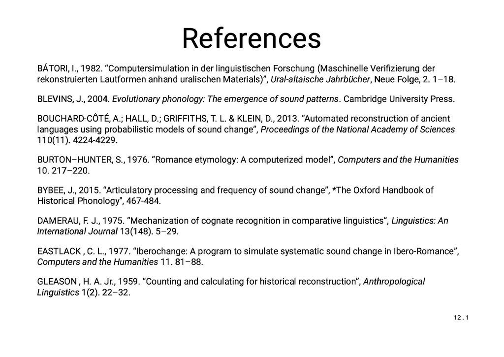 "References References BÁTORI, I., 1982. ""Comput..."