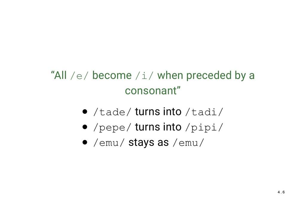 """""""All /e/ become /i/ when preceded by a consonan..."""