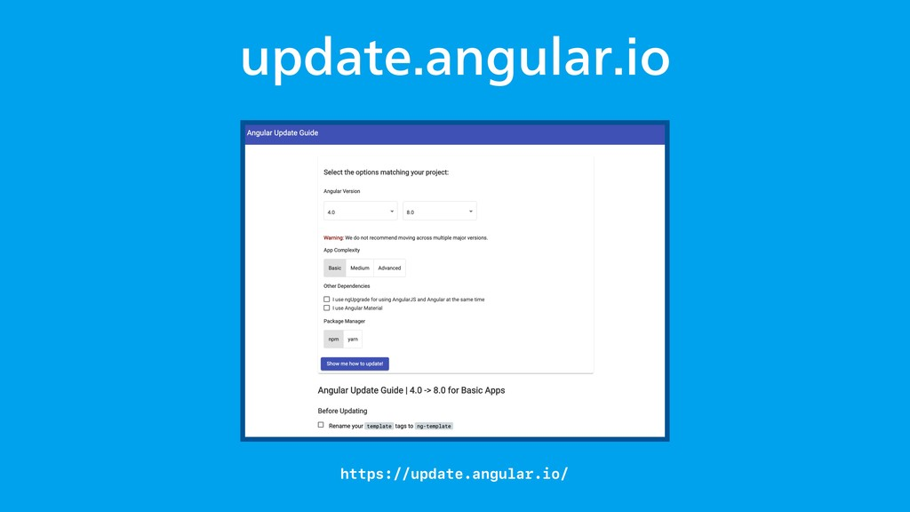 VQEBUFBOHVMBSJP https://update.angular.io/
