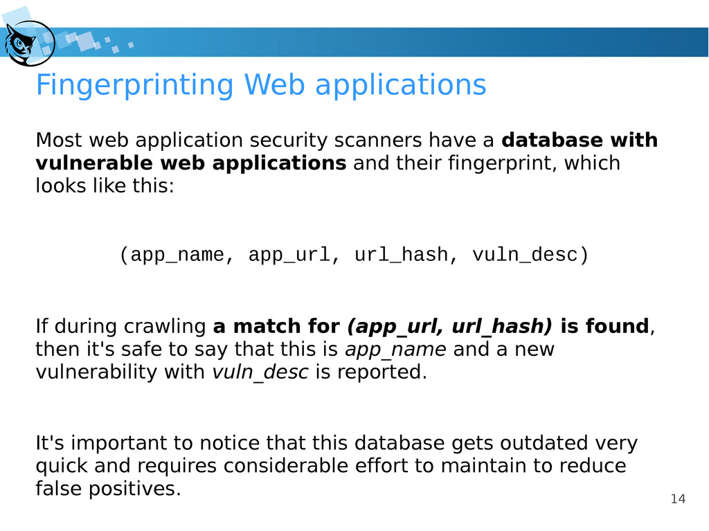 14 Fingerprinting Web applications Most web app...