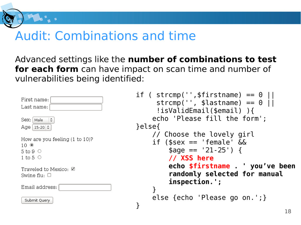 18 Audit: Combinations and time if ( strcmp('',...