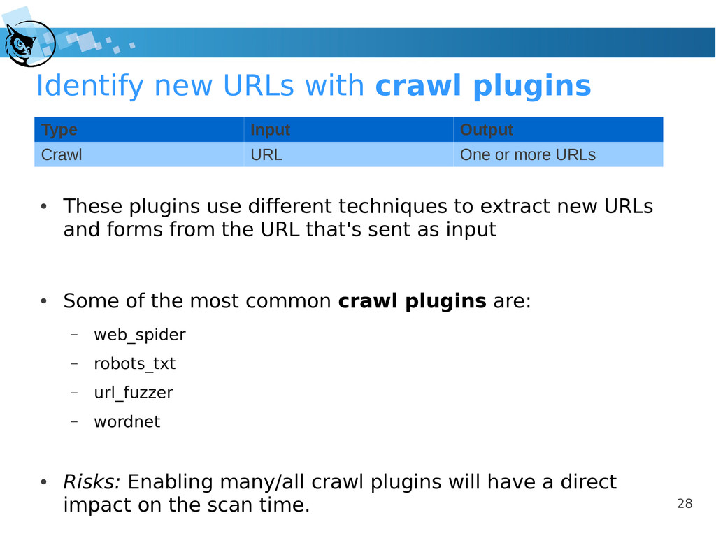 28 Identify new URLs with crawl plugins ● These...