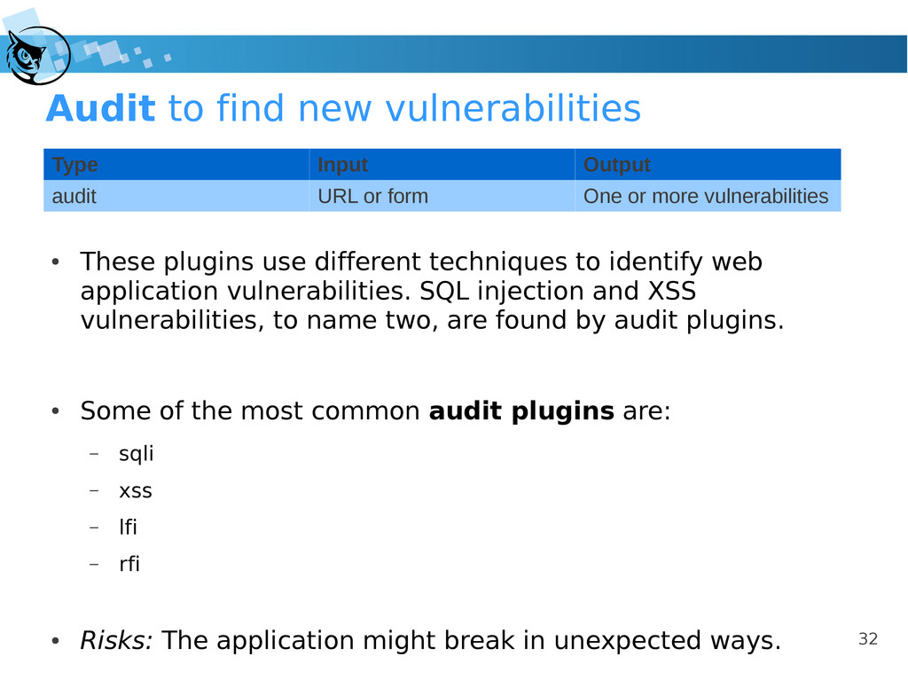 32 Audit to find new vulnerabilities ● These pl...