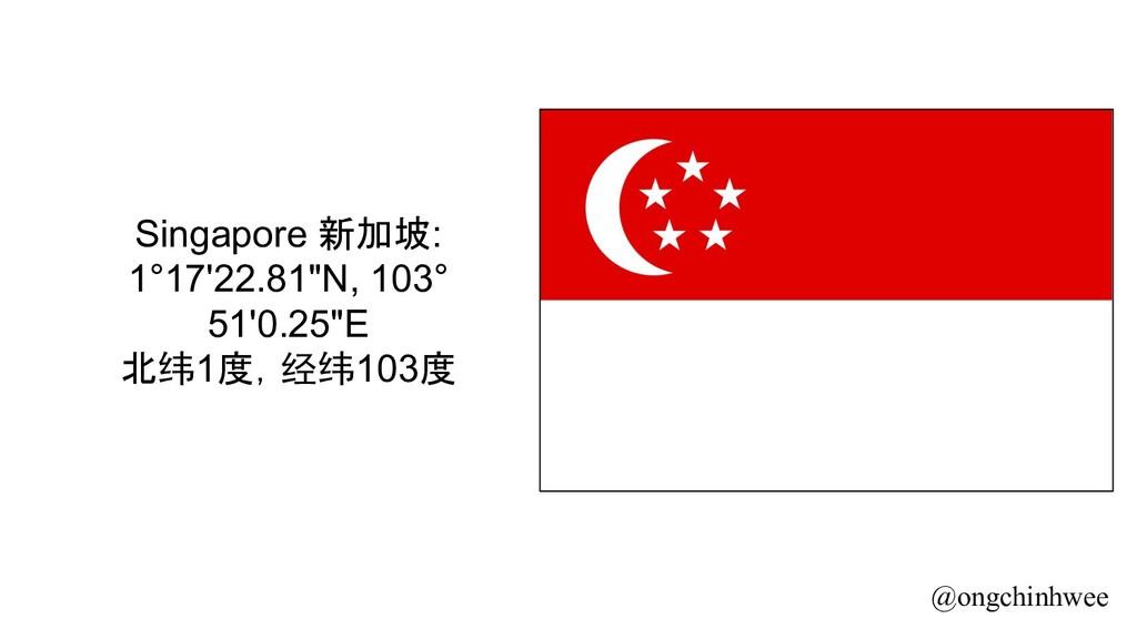 """Singapore 新加坡: 1°17'22.81""""N, 103° 51'0.25""""E 北纬1..."""