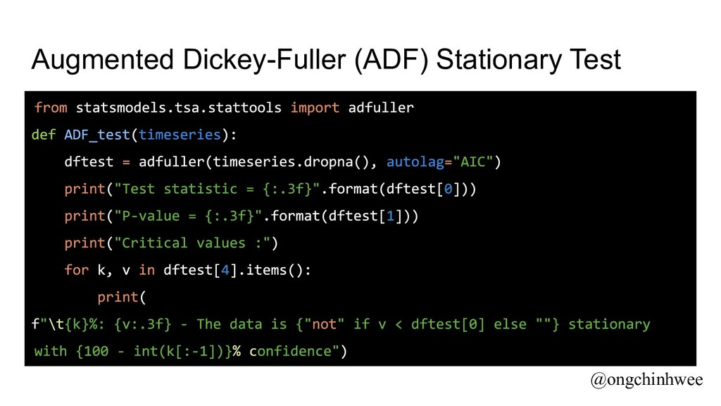 Augmented Dickey-Fuller (ADF) Stationary Test @...