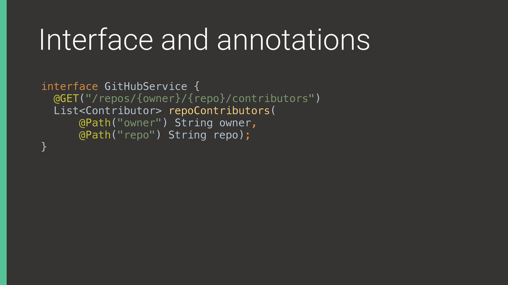 Interface and annotations interface GitHubServi...