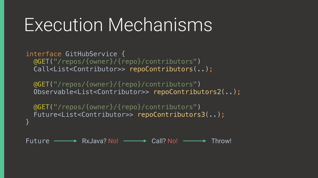 Execution Mechanisms interface GitHubService {...