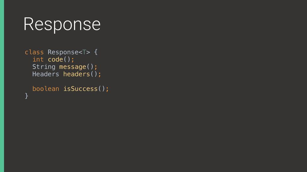 Response class Response<T> { int code(); Stri...