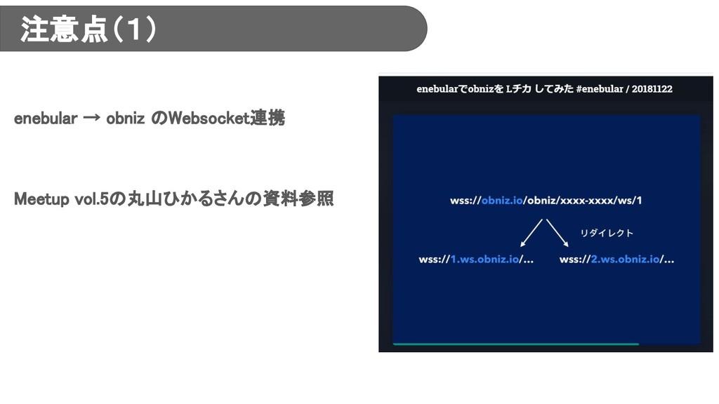 注意点(1) enebular → obniz のWebsocket連携 Meetup vol...
