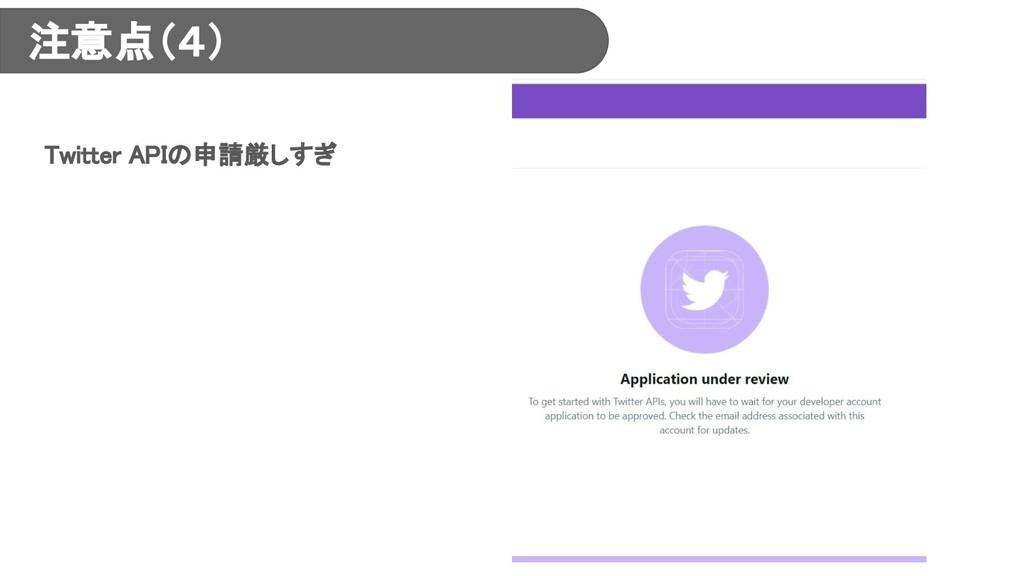 注意点(4) Twitter APIの申請厳しすぎ