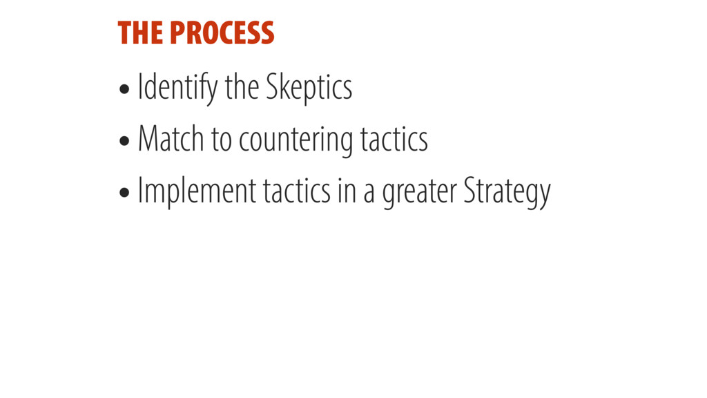 THE PROCESS • Identify the Skeptics • Match to ...